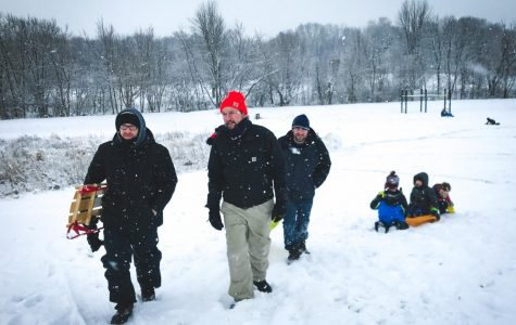 Social Studies teachers Mr. Stefen Robinson, Mr. Pat Lawler, and Mr. Kevin Suess take the show on the road and go sledding at Jersey Hill