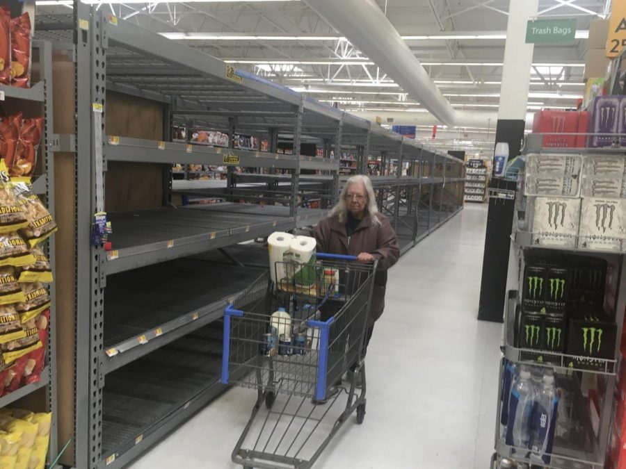 Bare+shelves+have+become+common+across+the+country+as+stores+such+as+Walmart+struggle+to+restock+paper+goods+such+as+toilet+paper+and+paper+towels.