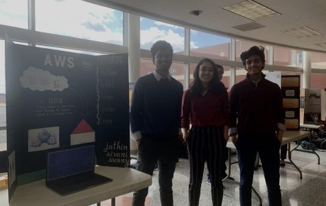 Co-founders Jathin Nama, Sivani Sayani, and Sunny Shaheen (left to right) present at the Showcase.