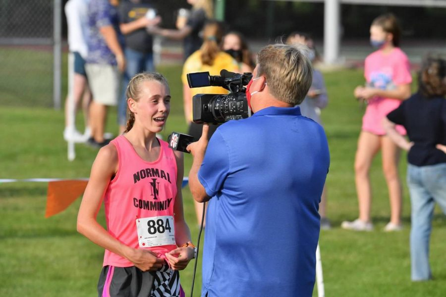 Ali Ince speaks to Channel 25 News about her performance and experience winning  the Randy Sharer Intercity cross country meet. The meet held at Maxwell Park Tues, Sept. 22 was renamed to honor the longtime Pantagraph reporter who covered cross country and track before his retirement.