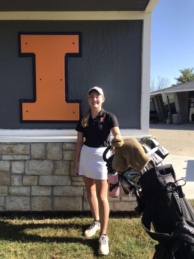Out+of+65+individual+competitors%2C+Alyvia+Burr+placed+in+Sectional%27s+top+ten+after+competing+at+the+University+of+Illinois+golf+course.