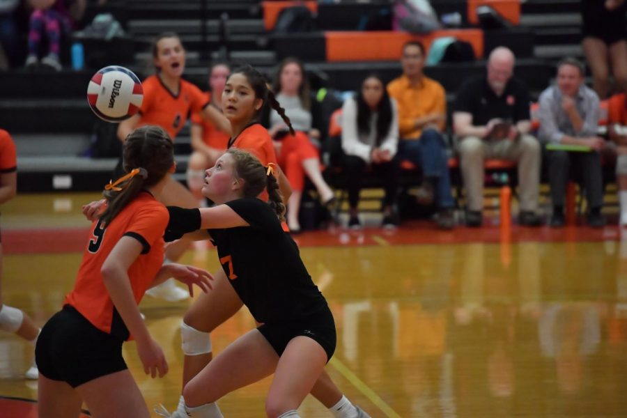 Isabelle McCormick, who hopes to continue playing volleyball in college, passes during a 2019 match against Bloomington.