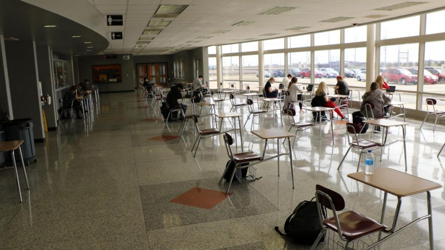 Students are able to socially distance during lunch hours in the