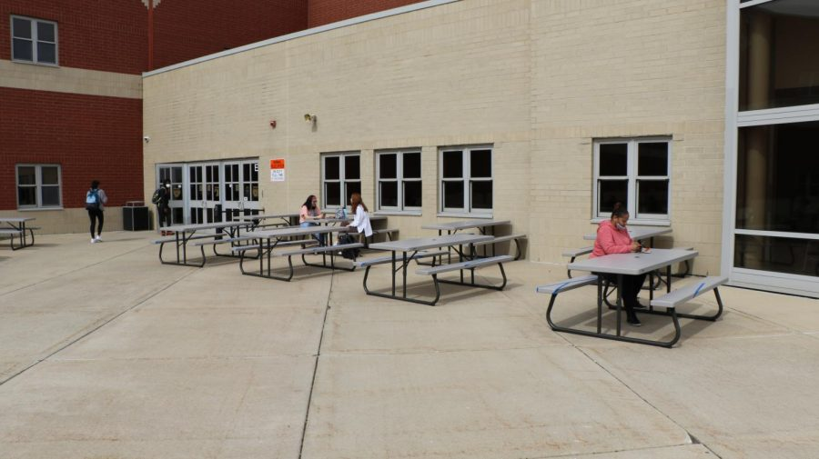 NCHS students are taking advantage of the outdoor seating option offered for social distancing.