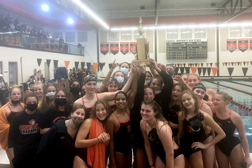 The Lady Iron swimming and diving team finished 1st in the Intercity meet -- nine points ahead of Normal West.